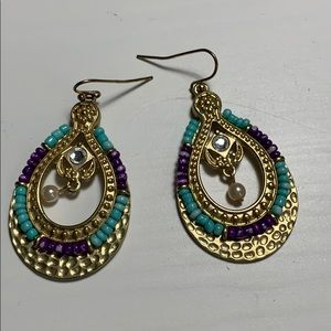 Jewelry - Pretty gold, purple and jade statement earrings